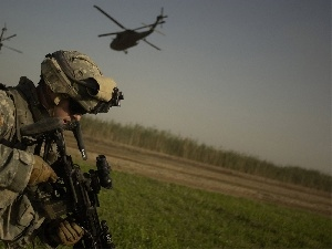 gun, helicopters, soldier
