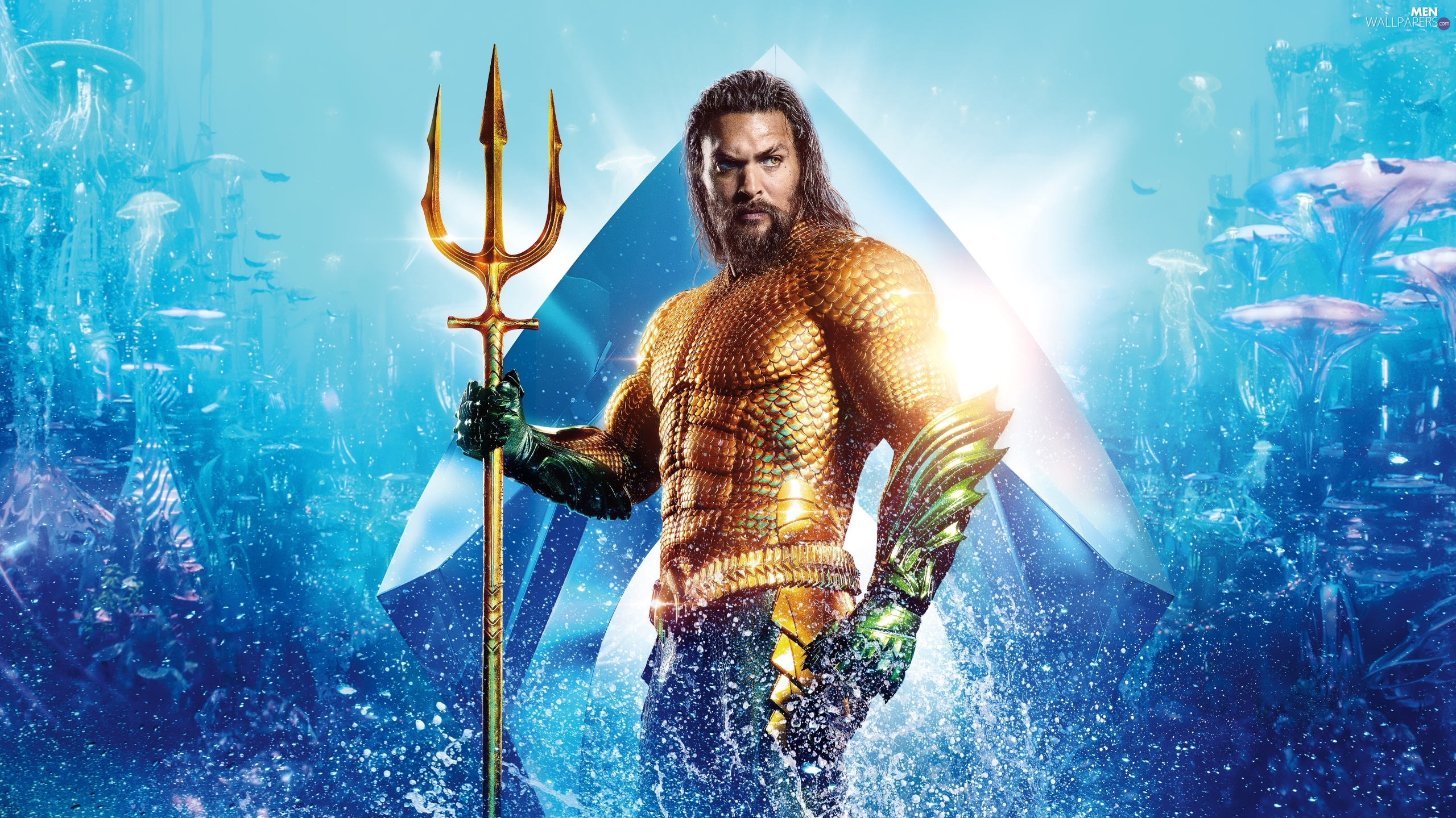 Jason Momoa, trident, Aquaman, actor, movie