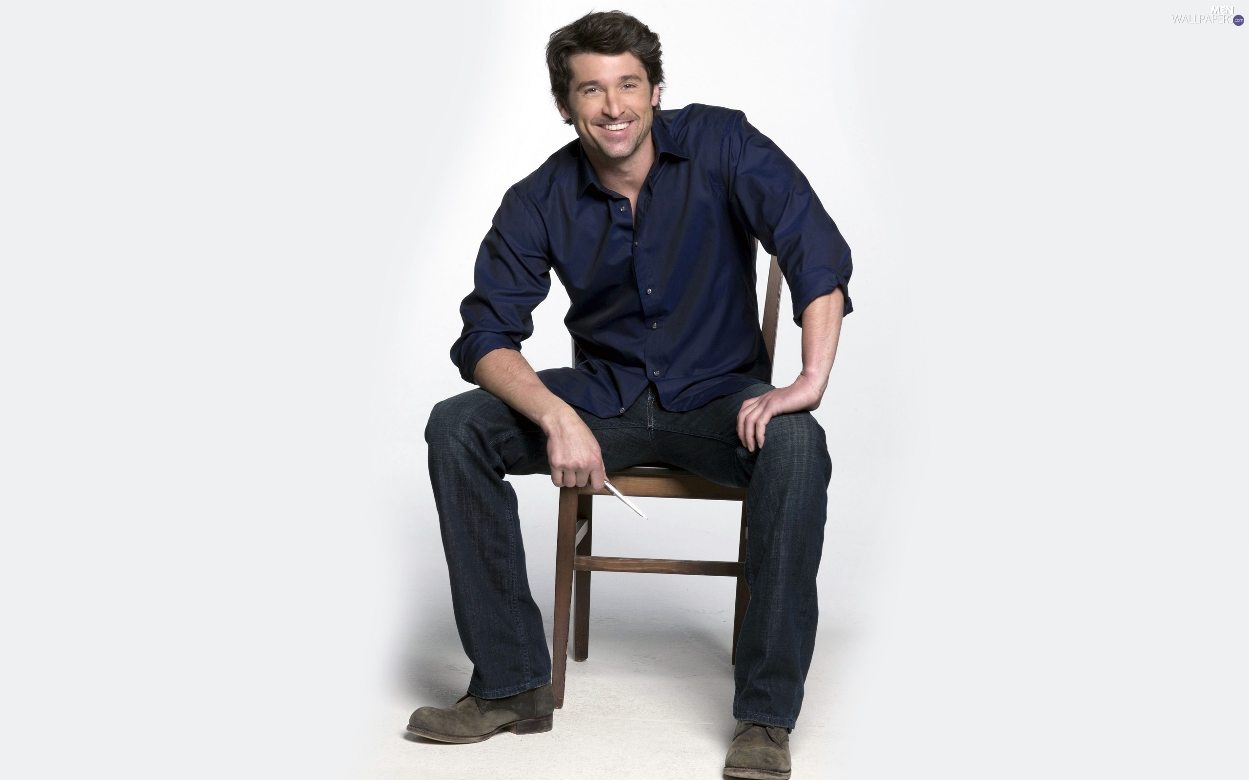 Blue, shirt, actor, Chair, Patrick Dempsey