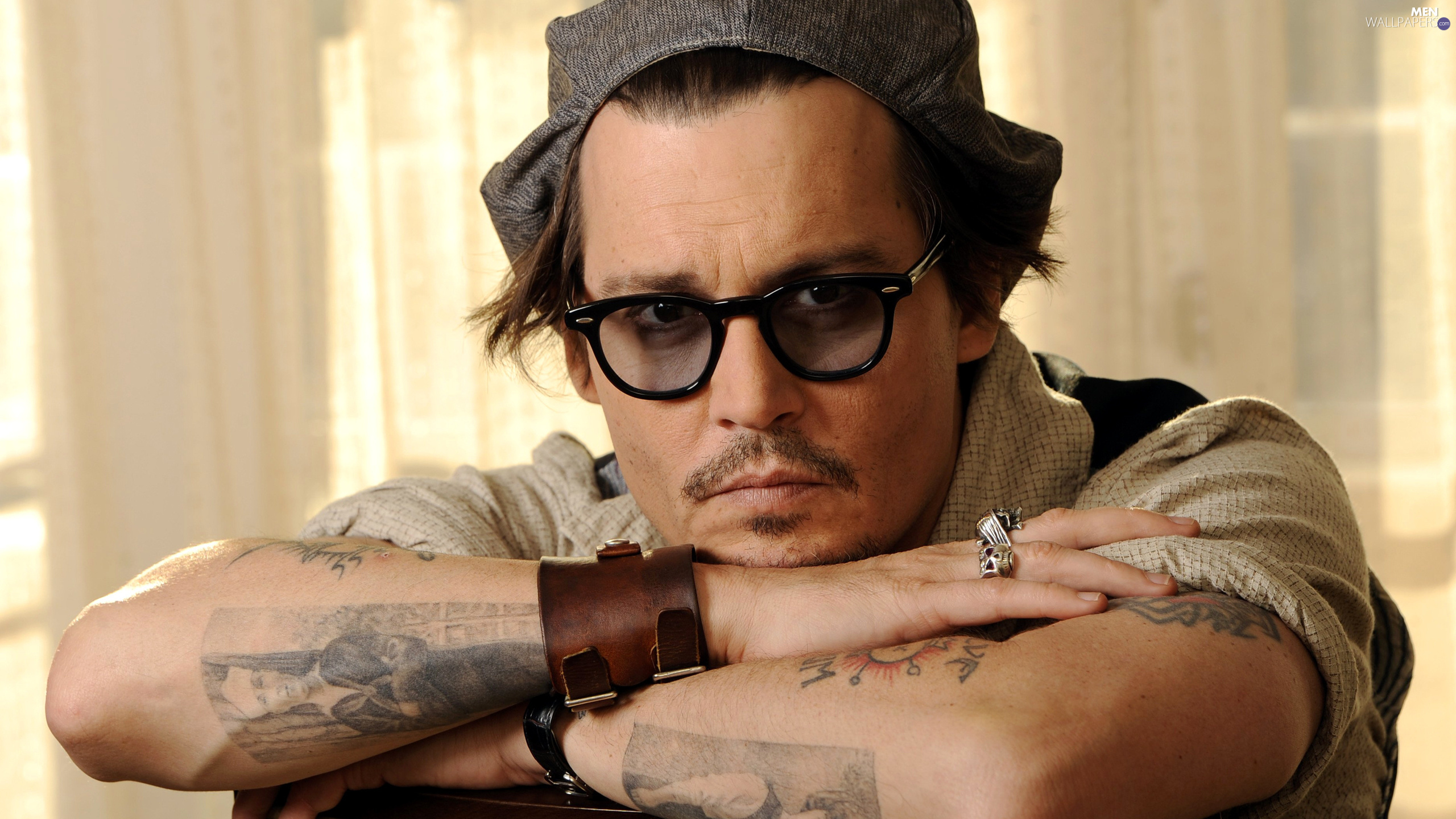 Glasses, Hat, Ring, Tattoo, bracelet, actor, Johnny Depp, Leather