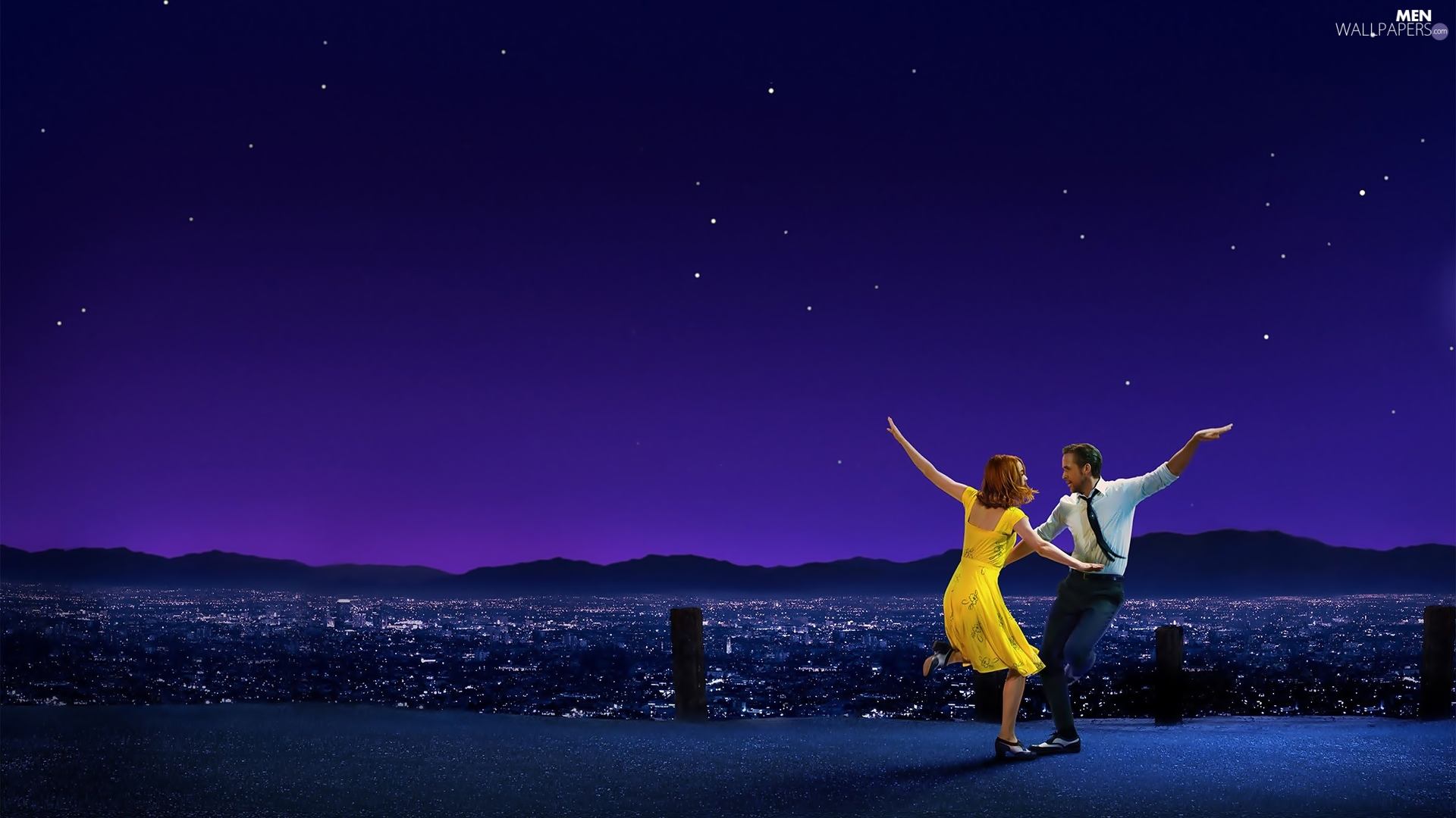 Emma Stone, movie, dance, City at Night, Ryan Gosling, La La Land