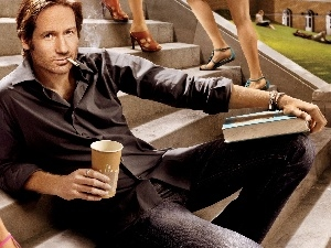 coffee, Books, legs, Cigarette, David Duchovny