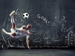wall, Drawing, footballer, Ball, Soccer