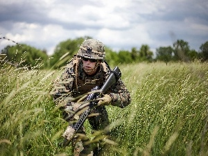 grass, soldier, Weapons