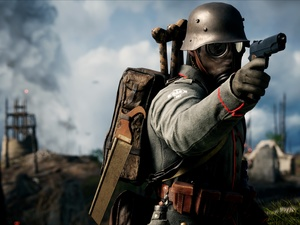 soldier, uniform, Gas Mask, knapsack, helmet, Battlefield 1, game, Gun