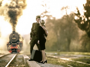 soldier, good-bye, Train, girl
