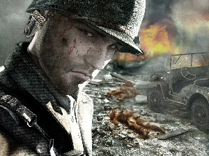 soldier, rubble, war, The wounded
